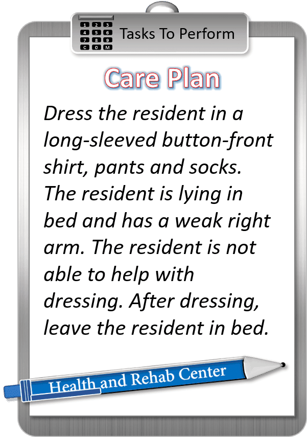 Care plan dressing